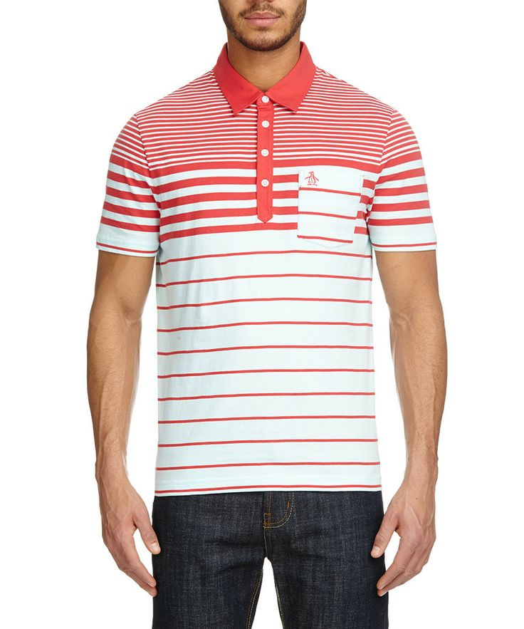Red striped polo shirt by Original Penguin on secretsales.com