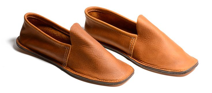 veg tan leather slippers with wool felt insole; based on pattern in civil war era magazine