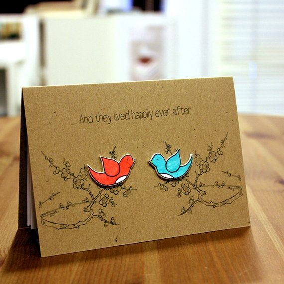 Handmade Engagement Card  //  Wedding Card  //  Anniversary Card  //  Love Card  //  Happily Ever After Love Birds