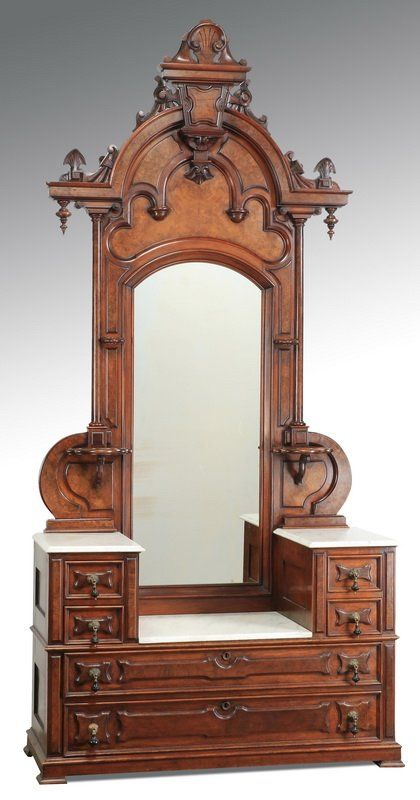~ 19th c. Mahogany with Burl Veneer Dresser attr. to Thomas Brooks ~ liveauctioneers.com