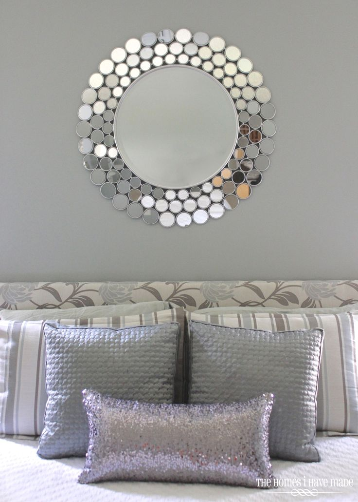 master bedroom done in silvers, grays, whites, and metallic finishes