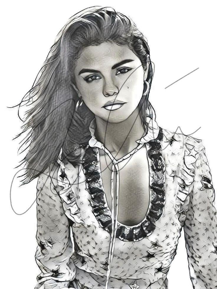 Selena Gomez Sketch Print #GOMEZ_SKETCH2 | How to draw ...