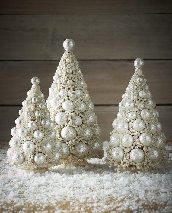 Bethany Lowe 3 Piece Bottle Brush Christmas Tree Set Size Ivory And Platinum Color