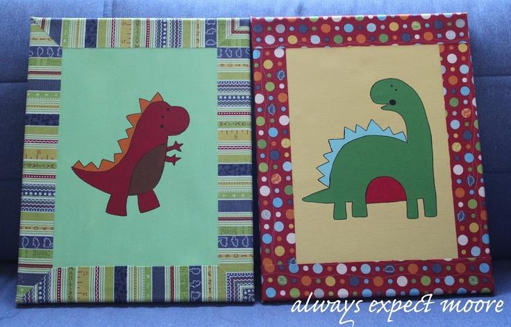 Dinosaur Baby Nursery - Painted Dinosaur Canvas