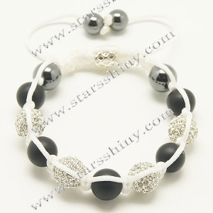 10mm round alloy clear rhinestone & agate beads adjustable shamballa bracelet wholesale    Material: alloy, rhinestone beads, agate beads    Wear Length: from 7 to 10 inches