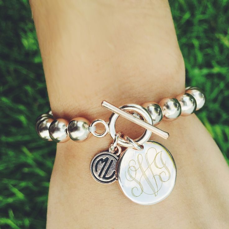 Monogrammed Silver Ball Toggle Bracelet Perfect For Stacking In An
