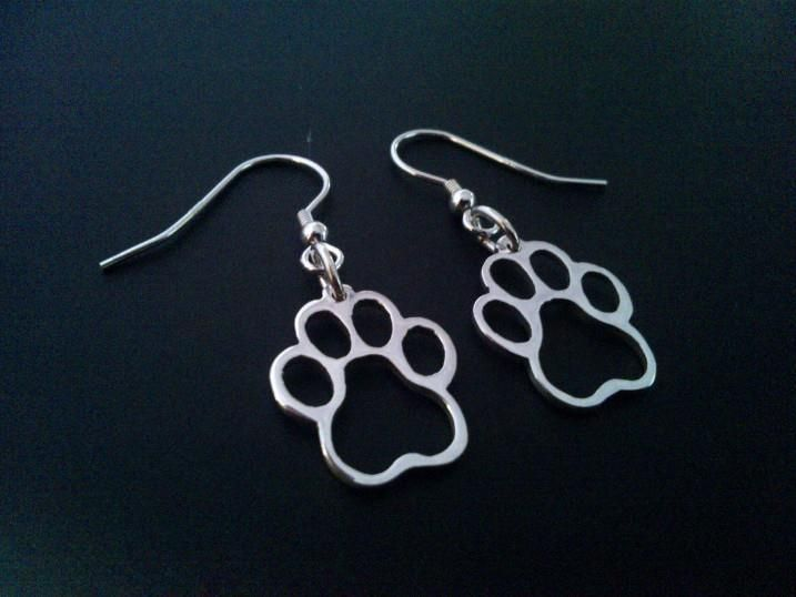 sterling silver  cogs paw drop earrings 18mm x 14mm, £26.99