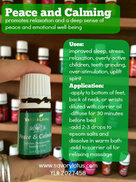 Peace and Calming: promotes relaxation and a deep sense of peace and well being.  Uses: improved sleep, relaxation, stress, overly active children, teeth grinding