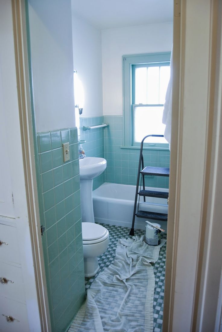 Paint old tile bathroom - Download Bathroom Gets An Overhaul Fresh White Paint With Seafoam Green Tile