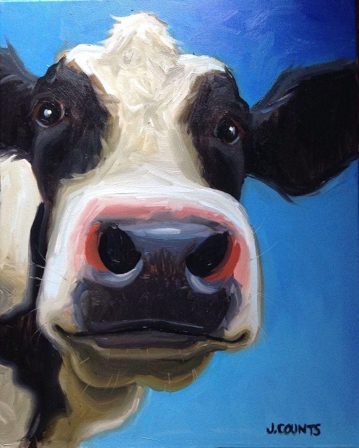"""COW ART PAINTING HOME RESTAURANT FARM BARN DECOR """"Opal"""" Oil on Canvas 16""""x20"""""""