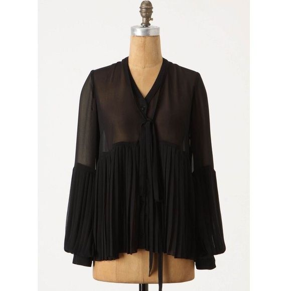 Leifsdottir Lycia Blouse from Anthropologie PRICE FIRM! Leifsdottir black chiffon long sleeve v-neck blouse with knife pleating along the bottom half of the body of the blouse and sleeves; skinny chiffon neck tie attached around top back neck; button down front; from Anthropologie Anthropologie Tops Blouses