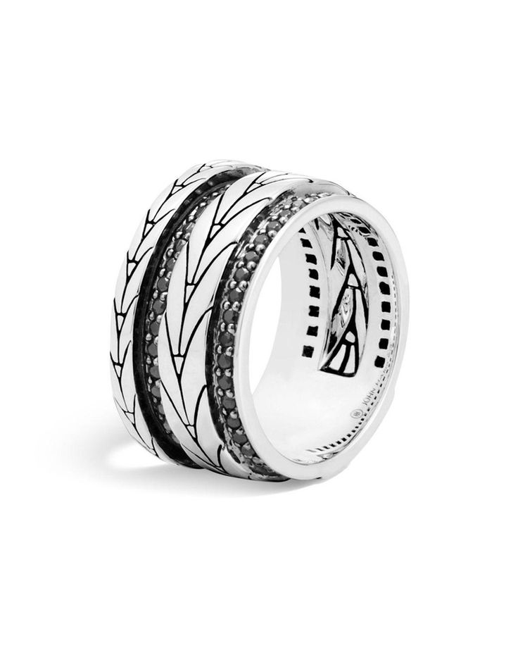 John Hardy | Metallic Sterling Silver Modern Chain Band Ring With Black Sapphire | Lyst