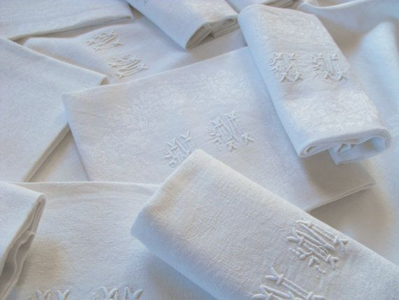 French Damask Tablecloth with 12 Napkins by Vintagefrenchlinens