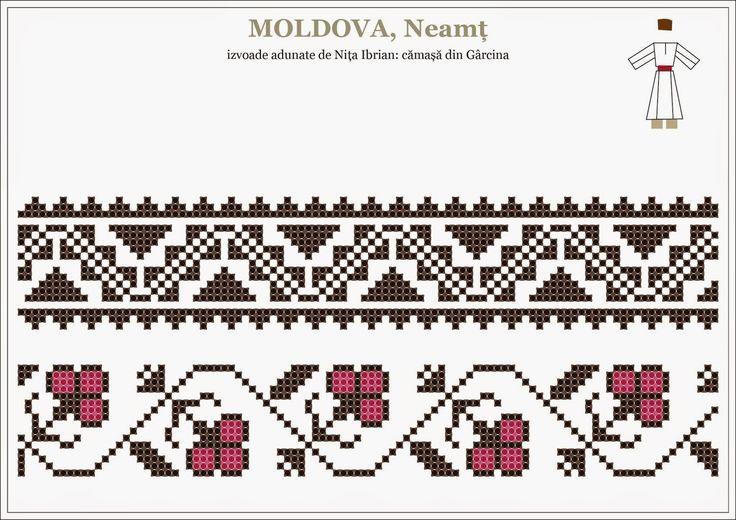 Semne Cusute: Romanian traditional motifs - MOLDOVA, Neamt, Garcina