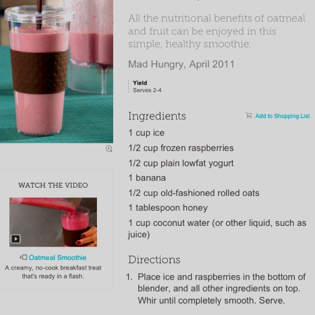 Healthy Smoothie with Oatmeal - YUM!