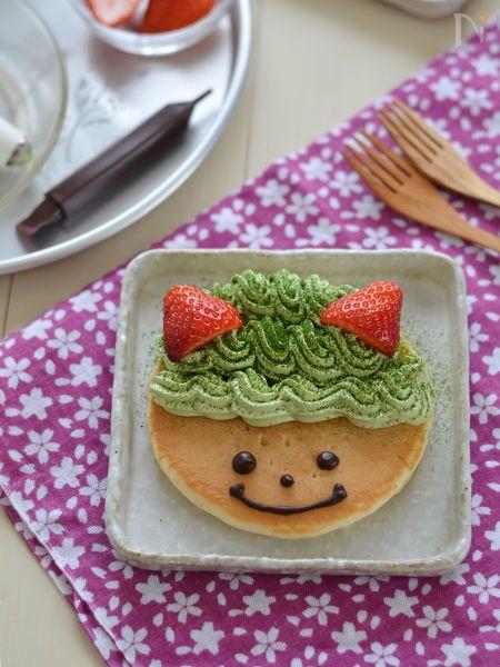 北海道産の小麦粉と、北海道牛乳を100%使用した「北海道ホットケーキ」。  ふんわり香り高くケーキとしても活躍できます。デザート用なら1人1枚で。デコレーションを楽しんでください♪  2/3の節分に向けて緑の鬼のデコホットケーキに仕上げました。
