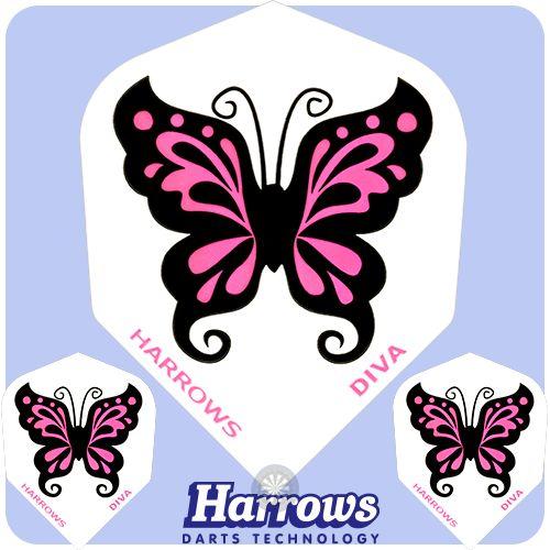 Dart Flights - Harrows - Diva Flights - 100 Micron - Std - Super Chic - Butterfly - http://www.dartscorner.co.uk/product_info.php?cPath=6_831_988&products_id=10862