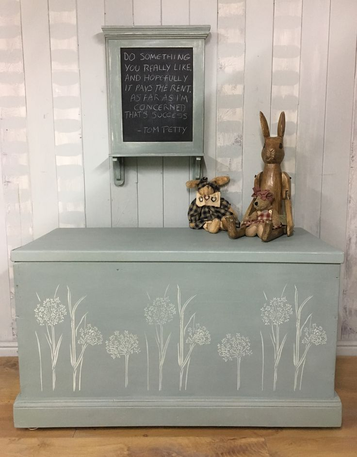 Old blanket box refinished with Annie Sloan Chalk Paint Duck Egg Blue and Original.
