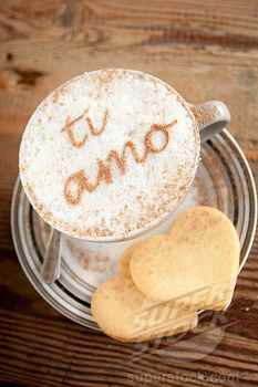 Ti Amo written in chocolate on a Cappuccino,means I Love You in Italian