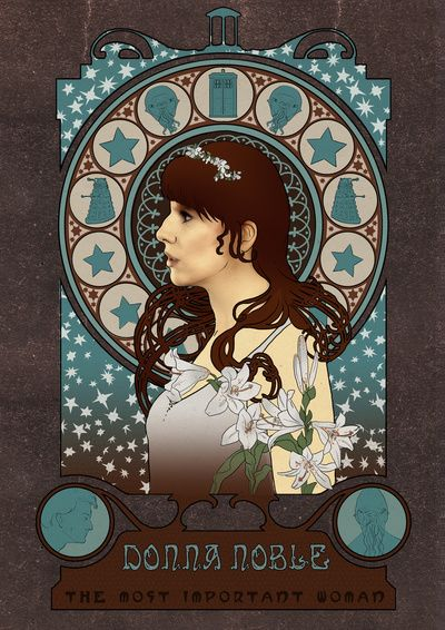 Donna Noble art nouveau , Doctor Who , TARDIS by Koroa.  My favorite companion.