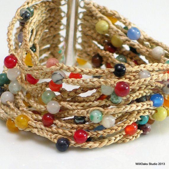 Crocheted Cuff Tapestry Series, Beaded Heavy Silk Bracelet, Vogue Crochet 2012, Artist's Original Fiber Cuff, WillOaks Studio