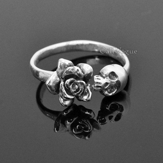 925 Sterling silver Skull Ring, Rose schedel zilveren ring, unieke sieraden, vrouwen Lady verstelbare Ring