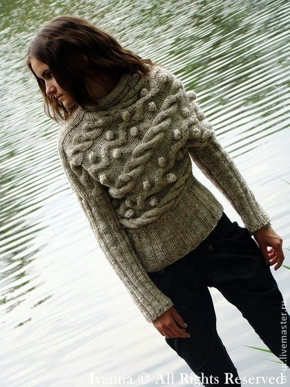 """Свитер """"""""Шеремет"""" - белый,молочный,свитер спицами,женский свитер,вязаный свитер"""