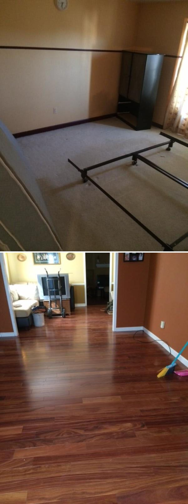 Changed Carpet To Hardwood Flooring Living Room Dining Family