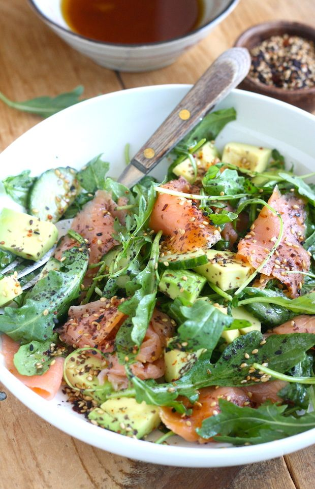Smoked Salmon Salad with Japanese Ponzu Dressing by SeasonWithSpice.com @seasonwithspice