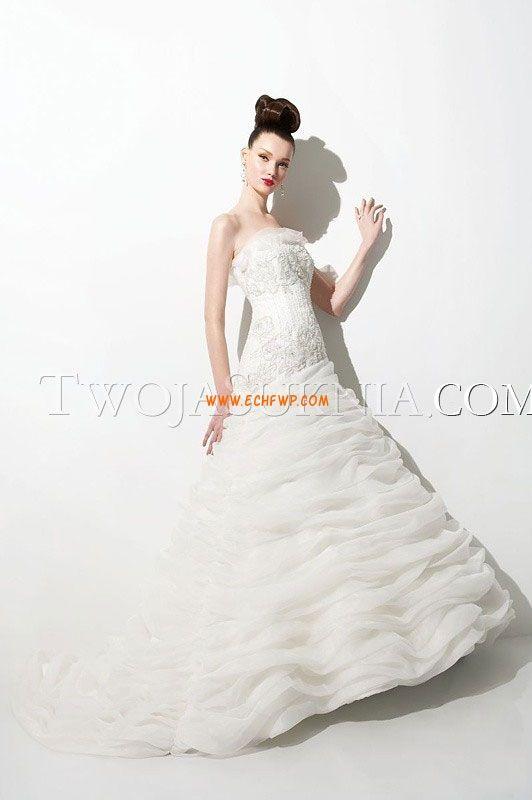 Bez ramiączek Aplikacjami Naturalny Suknie ślubne 2014