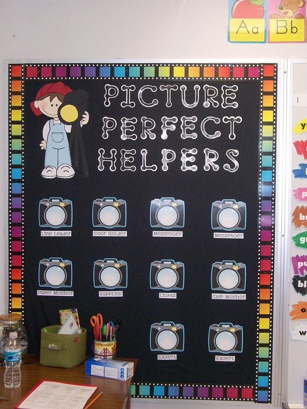 Close Up of Picture Perfect Helpers: cute for a Hollywood theme.  AIL products: Film Border (CD3320) & Camera Accents (CD6904 discontinued), Black Dot-to-Dot Letters (CTP1889)  Out of Frame - Color BBSET (CD3247)