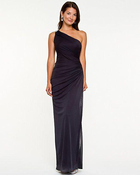 Embellished+One-Shoulder+Gown