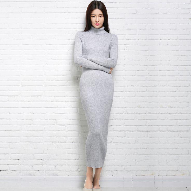 Новый осенью и зимой сексуальная длинное платье мягкий женский с длинным воротником в различных цветах купить на AliExpress