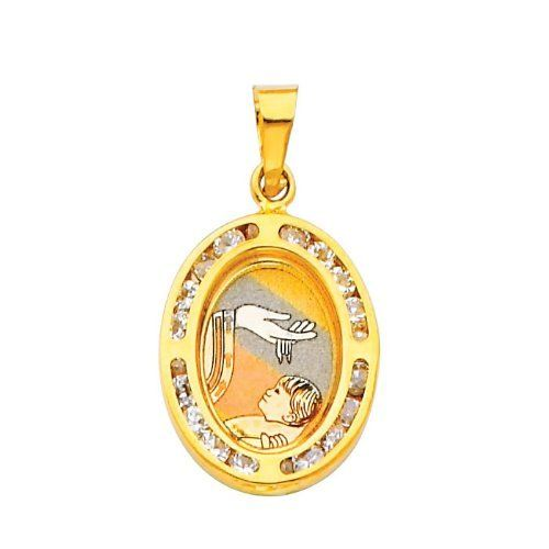 14K Yellow Gold Religious Baptism CZ Cubic Zirconia Charm Pendant Goldenmine. $78.00. Completely redesigned and revamped for the year 2012. This jewelry is symbolic in nature and can be the perfect gift for any and all occasions. Promptly Packaged with Free Shipping and Free Gift Box... Perfect for Gift Giving. Manufactured using up-to-date manufacturing techniques ensuring the highest quality and value. This item features a high polish finish for Excellent sparkle and pop