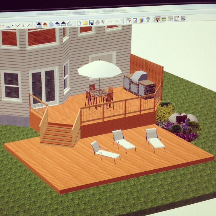3D design using Home Designer Chief Architect. Multi level deck designed for a client.