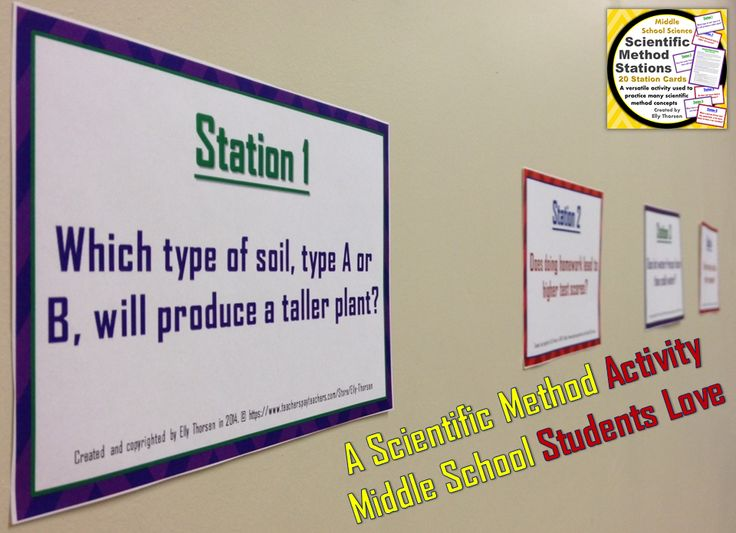 These stations can be used in a variety of ways in your middle school science classroom. I use them to practice identifying variables and writing hypotheses.