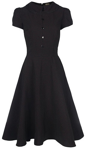 NEW VINTAGE VICTORIAN STYLE BLACK POLKA DOT PETER PAN COLLAR TEA DRESS STEAMPUNK