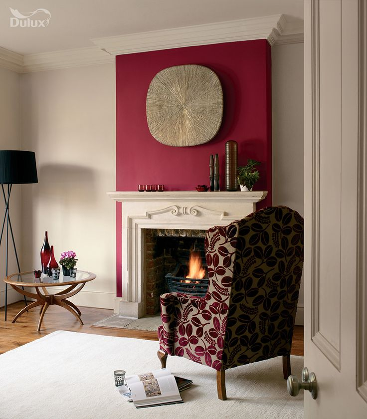 Make a statement by injecting creativity and personality for Purple feature wallpaper living room