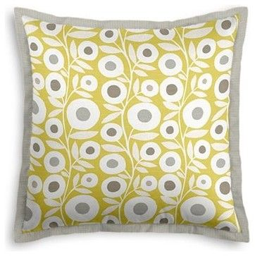 Chartreuse Graphic Flower Print Custom Euro Sham modern-pillowcases-and-shams