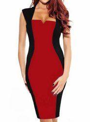 Stylish Square Neck Sleeveless Spliced Bodycon Color Block Women's Dress