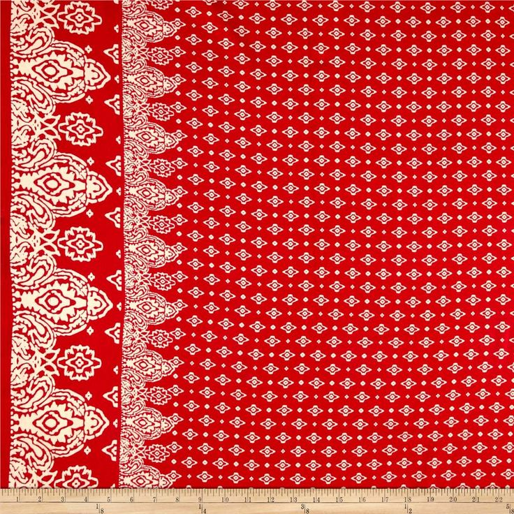 "Rayon Challis Double Border Coachella Red from @fabricdotcom  This very lightweight rayon fabric is semi-sheer and has a beautiful fluid drape and soft hand. It is perfect for creating shirts, blouses, gathered skirts and flowing dresses with a lining. Colors include red and tan. Double border measures 5"" from each selvedge edge."