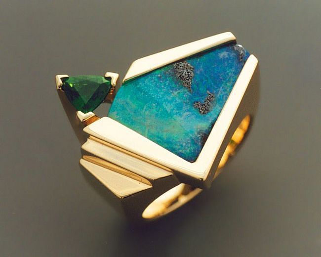 john biagiotti, 1998. Solid gold boulder opal ring.
