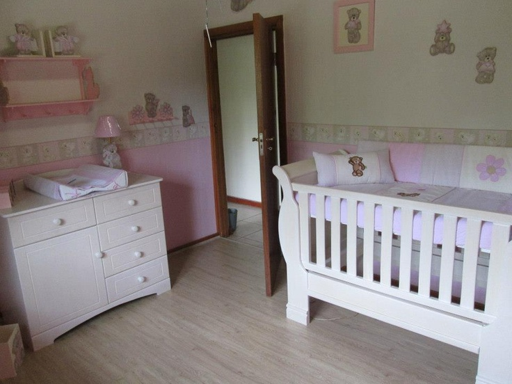 Pink, cream and stone nursery.  Complimented with white washed cot and compactum.