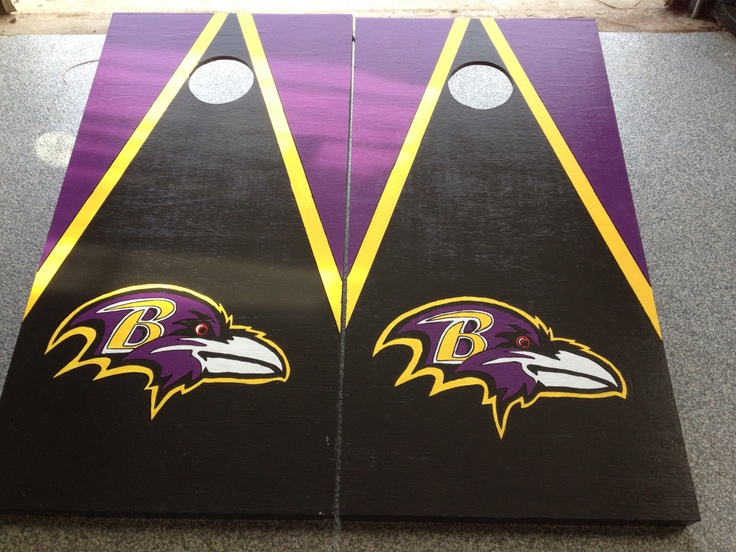 Hand Made/Hand Painted Baltimore Ravens Cornhole Board Games, with FREE  bags  - Custom Made to order. $149.99, via Etsy.