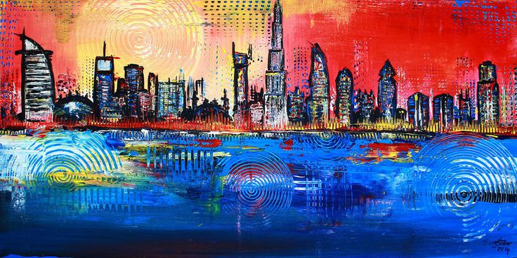 burgstaller bilder original acryl gem lde art painting abstrakt skyline dubai http www. Black Bedroom Furniture Sets. Home Design Ideas