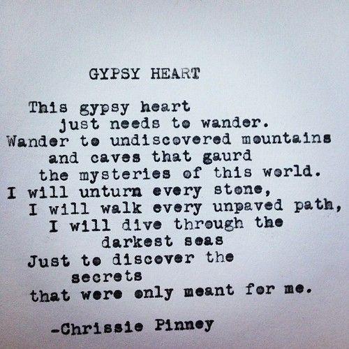 Gypsy Heart poem typewriter poetry - Prosper series no. 37 #gypsyheart Chrissie pinney