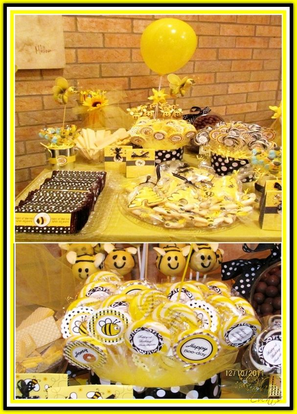 Honey Bee Birthday Desserts Table   Ideas On DIY Decorations, Printables,  Food, Treats And Favors For A Bee Themed Shower, Birthday Or Celebration  Party!