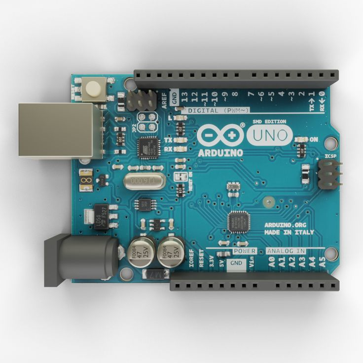 Arduino Uno 3D model with textures and materials. It is photo real model that will enhance detail and realism to any of your projects.