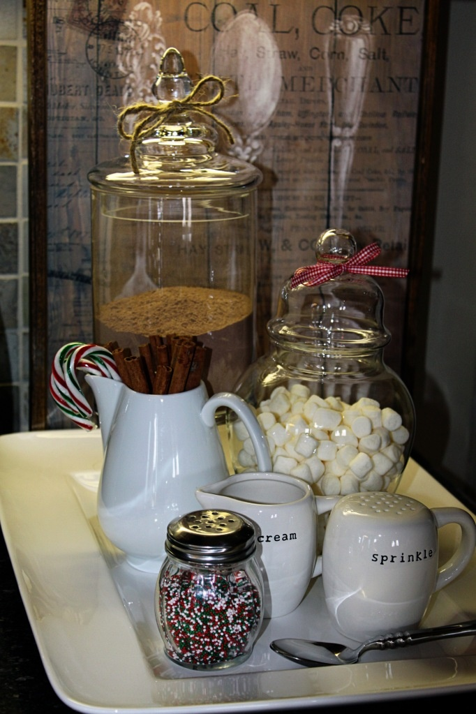 hot chocolate station - I like the jars to keep things covered if you have this over a week up to christmas.
