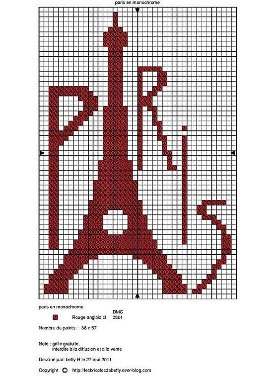 Eiffel Tower free cross stitch pattern